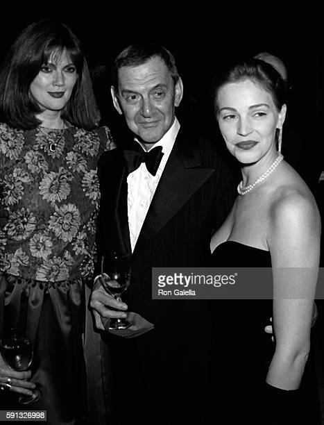 Norris Church Mailer Tony Randall and Marla Hanson attend A Decade of Literary Lions Benefit Gala on November 8 1990 at the New York Public Library...