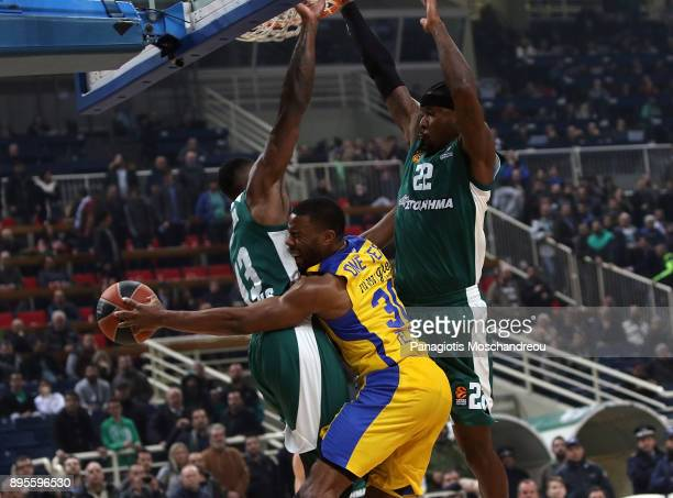 Norris Cole #30 of Maccabi Fox Tel Aviv competes with Kenny Gabriel #22 of Panathinaikos Superfoods Athens during the 2017/2018 Turkish Airlines...