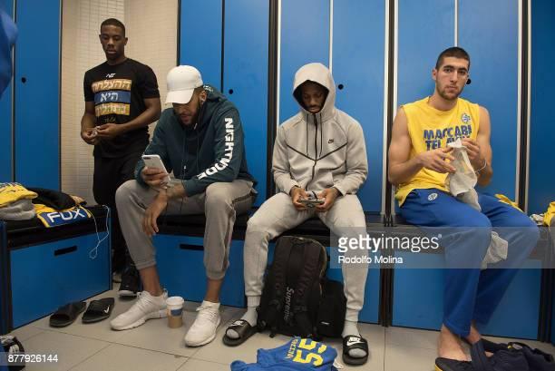 Norris Cole #30 of Maccabi Fox Tel Aviv Jonah Bolden #43 Pierre Jackson #55 and Karam Mashour #4 at dressing room prior the 2017/2018 Turkish...
