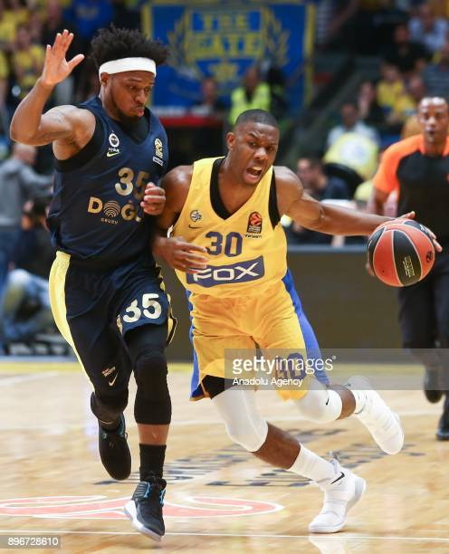 Norris Cole of Maccabi Fox Tel Aviv in action against Bobby Dixon of Fenerbahce Dogus during Turkish Airlines Euroleague match between Maccabi Fox...