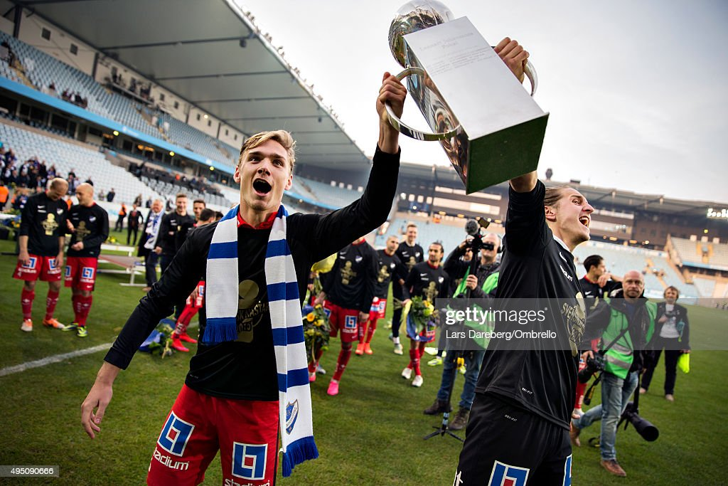 Norrkoping and Linus Dahlqvist and David Mitov Nilsson celebrate winning the Swedish League after the match between Malmo FF and IFK Norrkoping at Swedbank Stadion on October 31, 2015 in Malmo, Sweden.