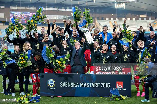 Norrkoping celebrates the gold after the match between Malmo FF and IFK Norrkoping at Swedbank Stadion on October 31 2015 in Malmo Sweden
