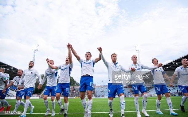 Norrkoping cheers to the fans after the Allsvenskan match between IFK Norrkoping and Ostersunds FK at Ostgotaporten on July 21, 2019 in Norrkoping,...