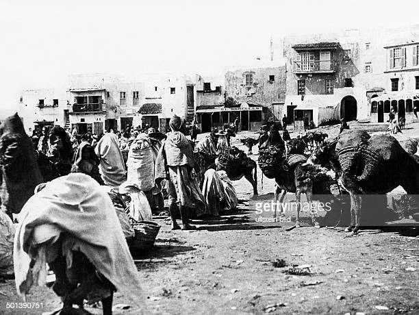 North Africa Morocco people on the market in Tetouan probably in the 1910s