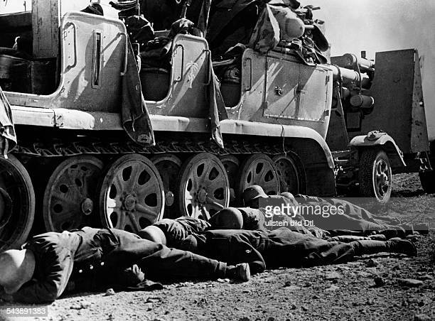 2WW North Africa war theater german Africa corps Feb41May43 A german antiaircraft gun crew seeking protaction behind their tractor vehicle because of...