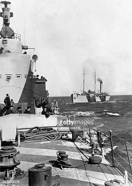 2WW North Africa war theater mediterranean naval warfare german cargo vessel with supply goods on its way to Libya/Tunesia escorted by italian...