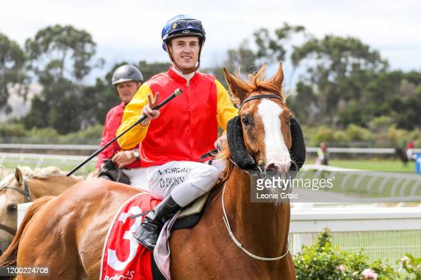 North Afrika ridden by Dylan Dunn returns after winning the Mirboo North Hotel BM58 Handicap at Stony Creek Racecourse on February 12, 2020 in Stony...