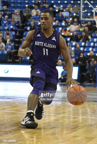 North Alabama Lions guard Kendarius Smith brings the ball up the court during a non conference basketball game between the North Alabama Lions and...