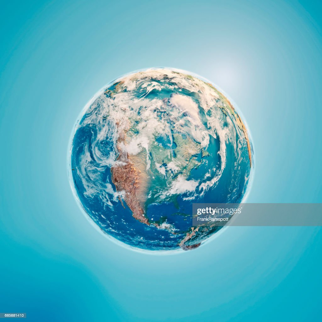 North America 3D Render Planet Earth Clouds : Stock Photo