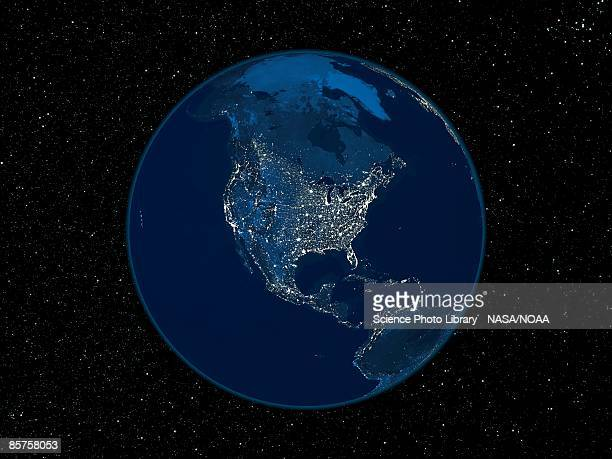 North America at night, satellite image of the Earth at night