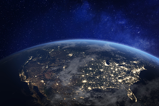 North America at night viewed from space with city lights showing human activity in United States (USA), Canada and Mexico, New York, California, 3d rendering of planet Earth, elements from NASA 989624498