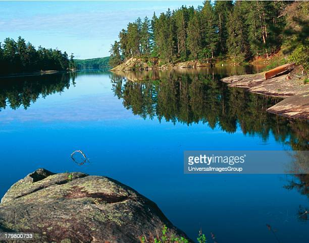 North America Canada Calm Waters on Lake Kawnipi Quetico Park Ontario Canoe Country Scenic