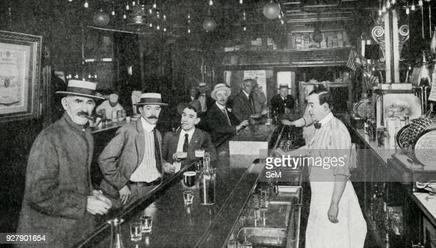 North America Customers in a New York 'near beer' saloon imbibing drinks that cannot inebriate 1920