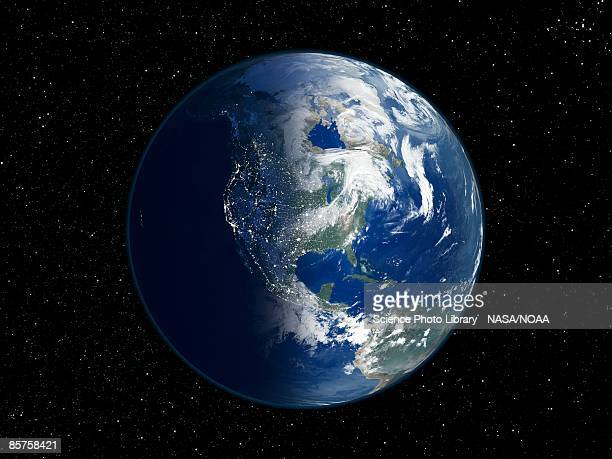north america, day and night, satellite image of the earth - north america stock pictures, royalty-free photos & images