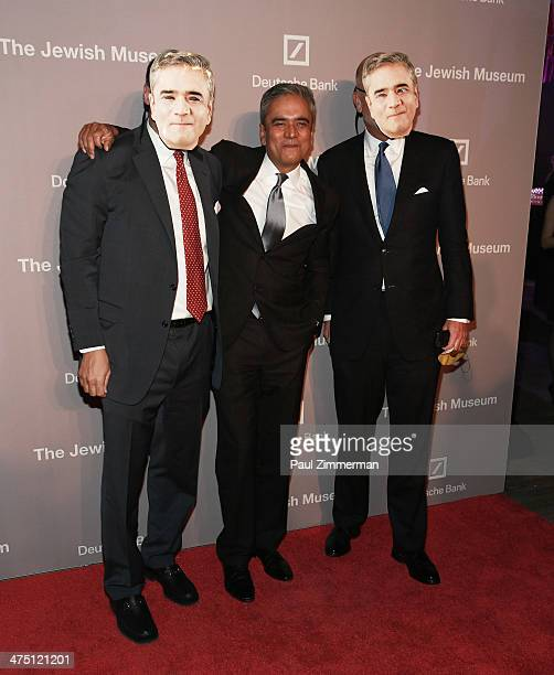 North America Deutsche Bank Jacques Brand and CoChief Executive Officer of Deatsche Bank Anshu Jain attend the Jewish Museum's Purim Ball 2014 at...