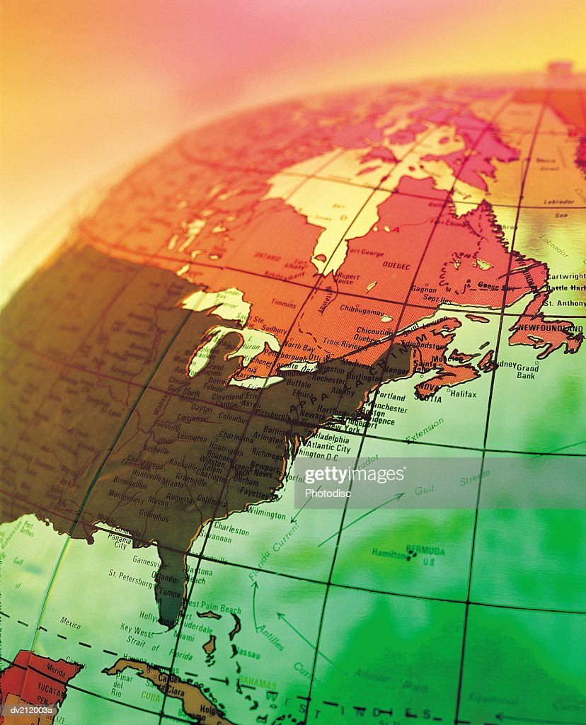 North America on portion of globe : Stock Photo