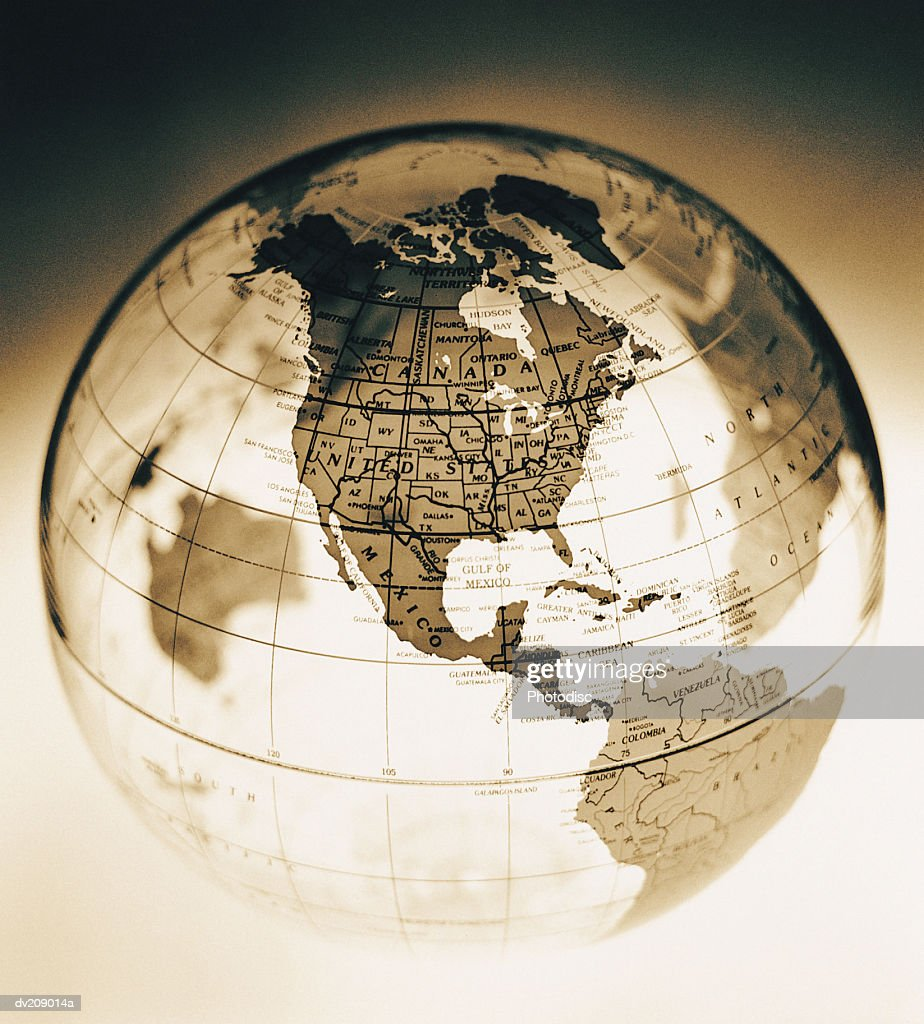 North America on translucent globe : Stock Photo