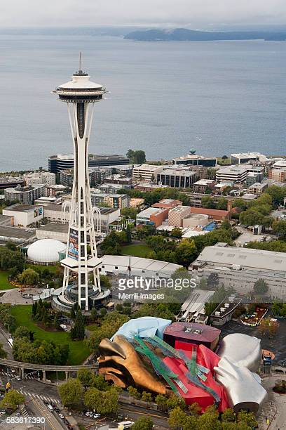 north america, united states, washington, seattle, aerial view of the seattle center, space needle, - エクスペリエンスミュージックプロジェクト ストックフォトと画像