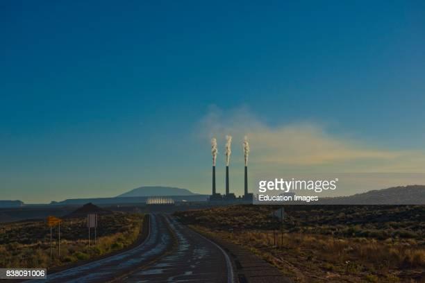North America USA Arizona Page Lake Powell Navajo Generating Station at Sunrise and Navajo Mountain