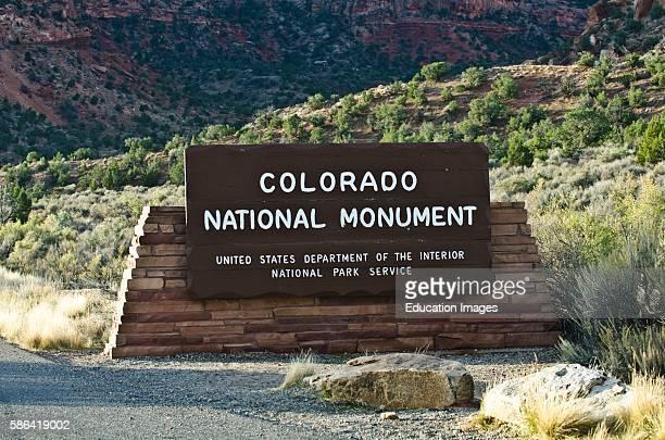 North America USA Colorado Fruita Grand Junction Vistas along Rim Rock Drive Colorado National Monument Entrance Monument Sign