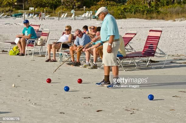 North America, USA, Florida, Sarasota, Crescent Beach Siesta Key, Bocce Ball on the Sand.