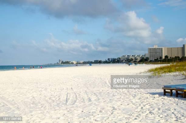 North America, USA, Florida, Sarasota, Crescent Beach, Siesta Key, Covid-19 Deserted Beach at midday.