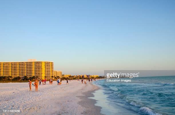 North America, USA, Florida, Sarasota, Crescent Beach, Siesta Key, Evening.