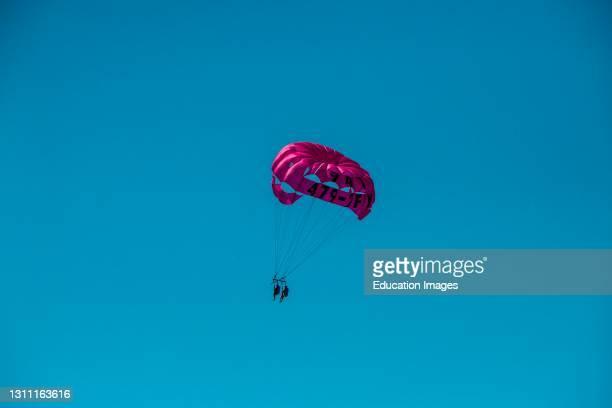 North America, USA, Florida, Sarasota, Crescent Beach, Siesta Key, Pink Parasail.
