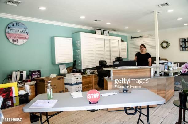North America, USA, Florida, Sarasota, Crescent Beach, Siesta Key, Siesta Dunes Condominium, Office Social Distancing Devices.