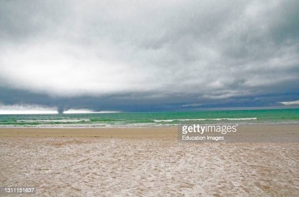 North America, USA, Florida, Sarasota, Crescent Beach Siesta Key, Storm Clouds and Waterspout.