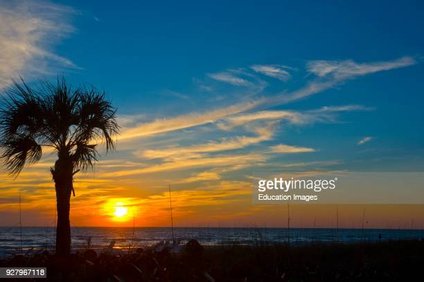 North America USA Florida Sarasota Crescent Beach Siesta Key Sunset
