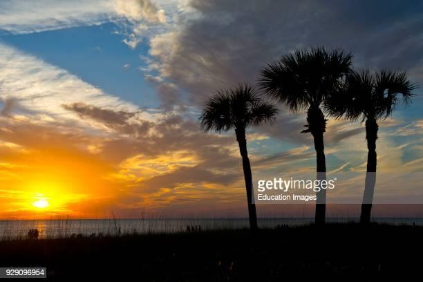 North America, USA, Florida, Sarasota, Siesta Key Crescent Beach Sunset.