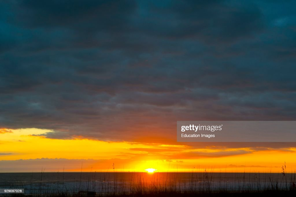 Florida, Sarasota, Siesta Key, Seascape at Sunset : News Photo
