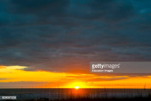 North America, USA, Florida, Sarasota, Siesta Key, Seascape at Sunset.