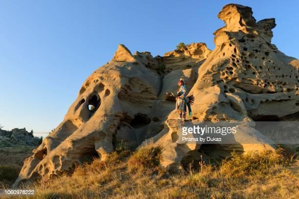 North America, USA, Great Plains, Montana, Medicine Rocks, State Park, Robert Yellowhawk, Lakota, MR 0596.