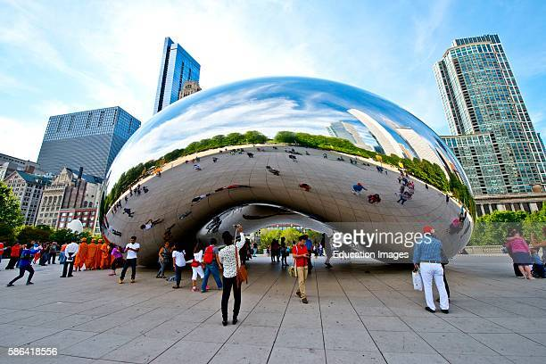 North America USA Illinois Chicago Millennium Park The Bean Cloud Gate ATT Plaza