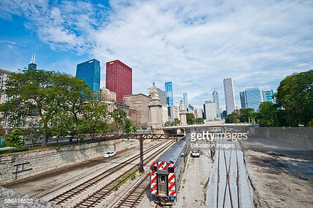 North America USA Illinois Chicago Rail Lines and Skyline from Van Buren Street looking North