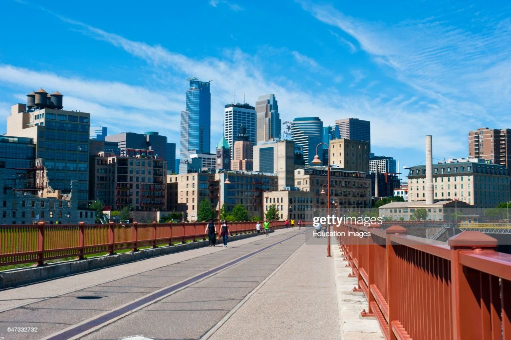 Minnesota, Minneapolis Skyline from Stone Arch Bridge : News Photo