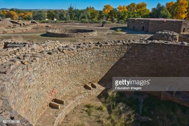 North America USA New Mexico Aztec Aztec Ruins National Monument West Ruin Three Kivas and Plaza