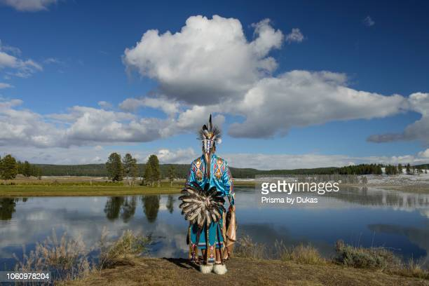 North America, USA, Rocky Mountains, Yellowstone, National Park, Hayden river,, Robert Yellowhawk, Lakota indian at river MR.