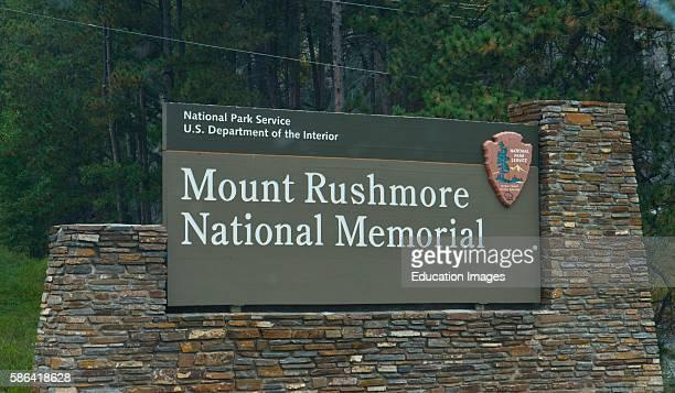 North America USA South Dakota Keystone Black Hills Mount Rushmore National Memorial Monument Sign