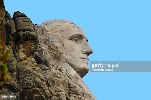 North America USA South Dakota Keystone Black Hills Mount Rushmore National Memorial showing Profile of George Washington