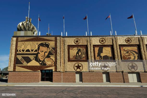 North America USA South Dakota Mitchell Corn Palace Decorated with Crop Art southwest corner