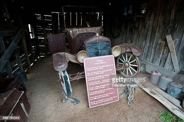 North America USA South Dakota Philip Badlands Prairie Homestead of Edgar and Alice Brown Old Ford car in Farm Shed and Ford Jingle