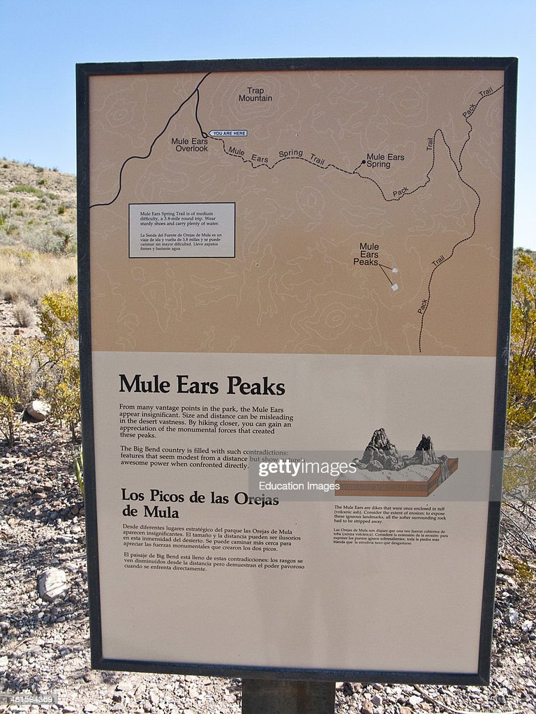 Big Bend National Park Informational Sign With Map For Mule Ears - Big bend national park map us