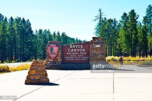 North America USA Utah Bryce Bryce Canyon National Park Entrance Monument Sign