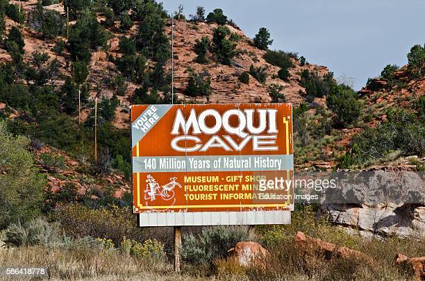 North America USA Utah Kanab Moqui Cave Museum and Gift Shop Entrance and Informational Sign