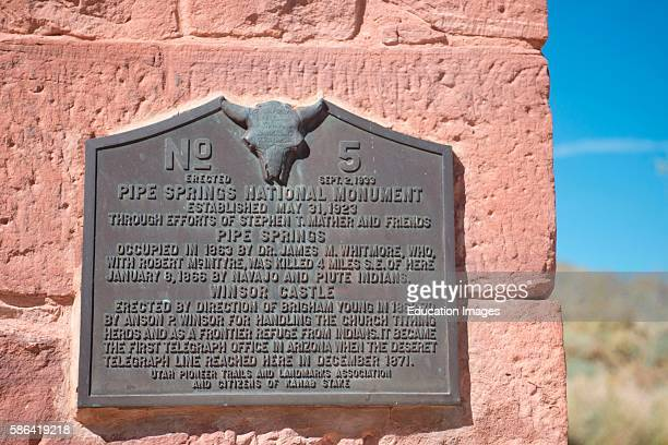 North America USA Utah Pipe Spring National Monument Arizona Strip Brass Memorial Plaque mounted on Winsor Castle