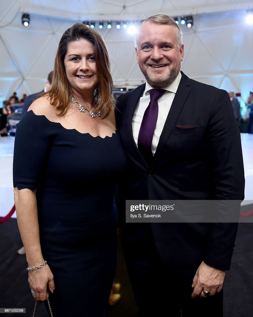 North America VP of Marketing Trudy Hardy and Head of BMW Group Cultural Engagement Thomas Girst attend the World Premiere Of FRANCHISE FREEDOM - A Flying Sculpture By Studio Drift In Partnership With BMW at The Faena Art Dome on December 6, 2017 in Miami, Florida.