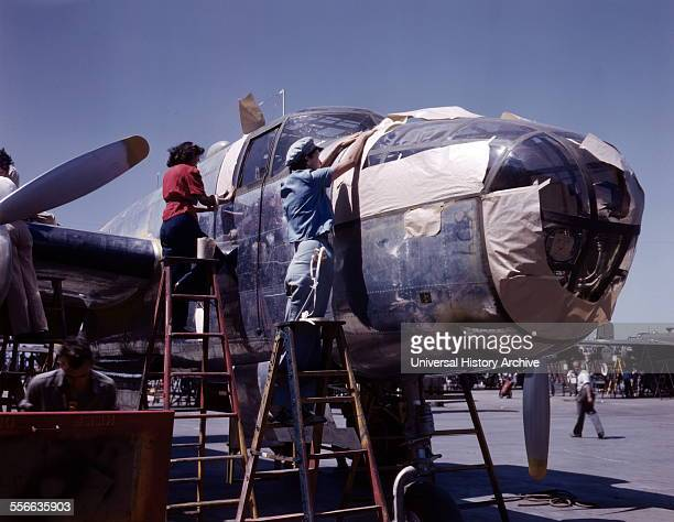 North American B25 bomber is prepared for painting on the outside assembly line Inglewood California